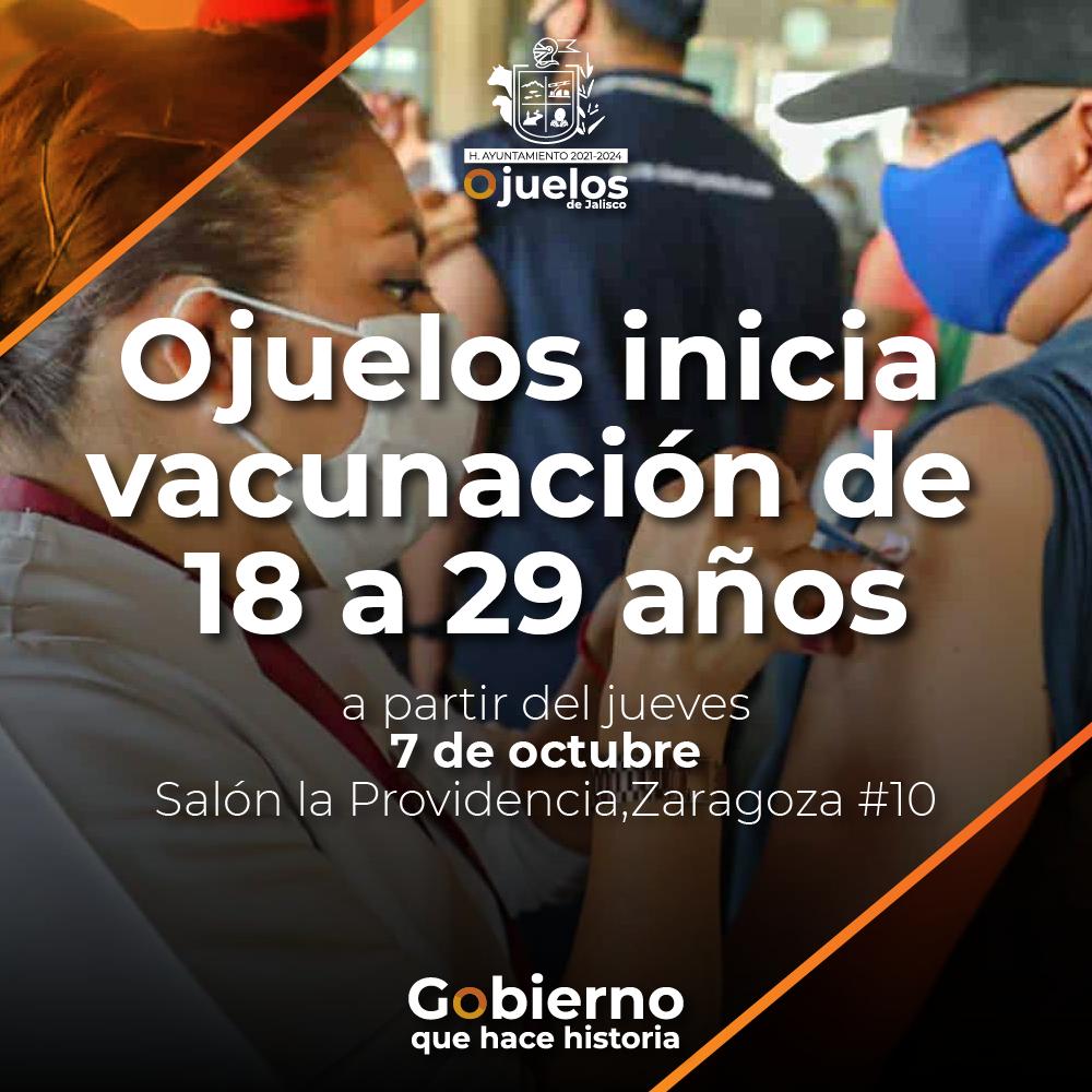 Próximo jueves 7 de octubre inicia vacunación a personas de 18 a 29 años